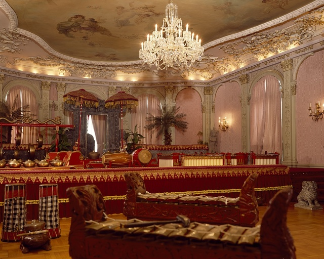 Louis XIV drawing room now holds the instruments of a traditional Indoesian gamelan orchestra in the Embassy of Indonesia, Washington, D.C.