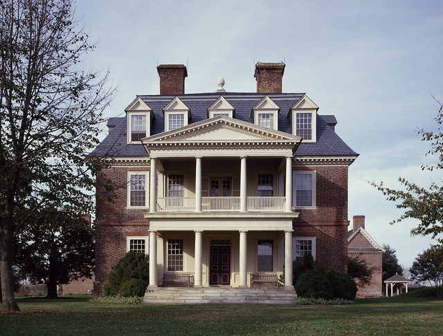 Manor home of Shirley Plantation, Virginia's oldest plantation, founded in 1613 in Charles City, Virginia