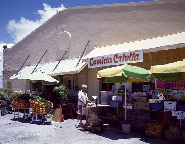 """Market on Calle Ocho, Eighth Street, in Miami, Florida's """"Little Havana"""""""
