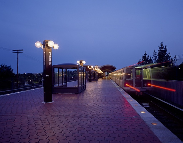 Metro train on Washington, D.C.'s subway system arrives at the suburban Twinbrook station in Rockville, Maryland