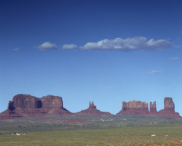 Monument Valley, a Navajo Nation tribal park whose red-sandstone formations on the Colorado Plateau lie mostly in Arizona but also into Utah