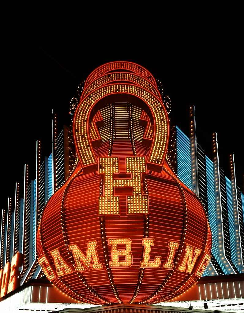 Neon sign at the Horseshoe Casino, Las Vegas, Nevada