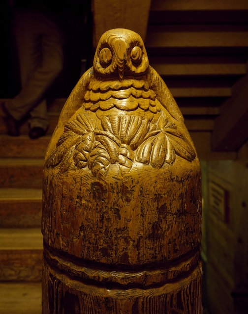 Newell post carved by WPA workers during the Great Depression at Timberline Lodge, midway up Oregon's soaring Mount Hood