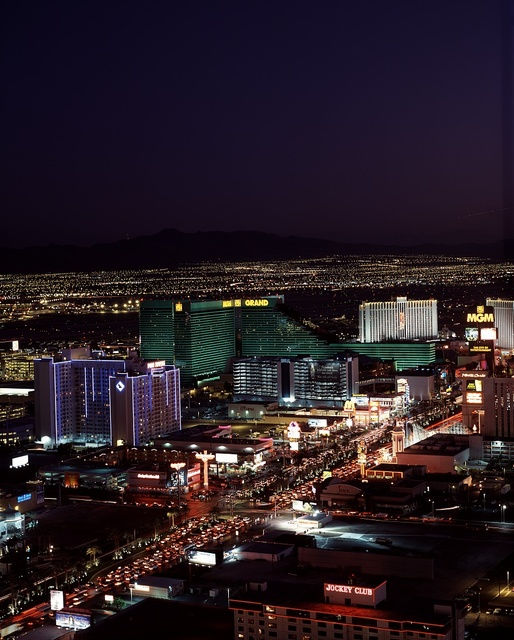 Nighttime aerial view of the Las Vegas Strip, Las Vegas, Nevada