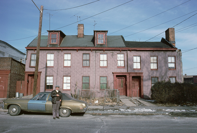 No heat, landlord in front of New at Newark Streets, Newark, January 1980