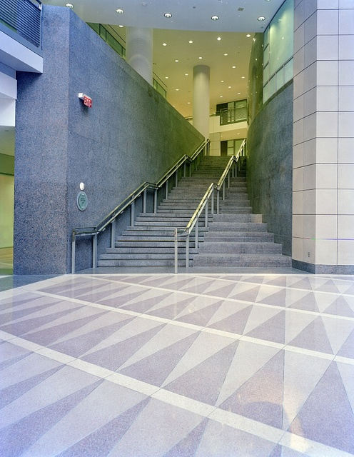 Office building lobby staircase
