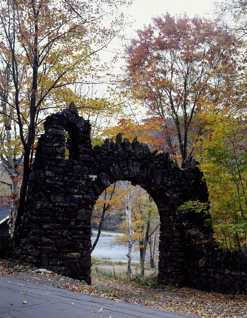 Old stone portal leading to the Balsams Hotel and Resort, Dixville Notch, New Hampshire