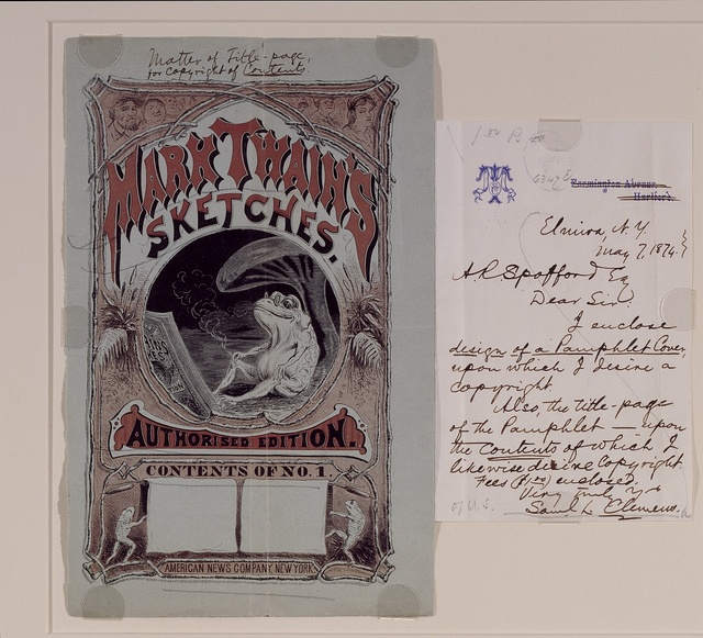 Pamphlet cover for which Samuel Clemens (Mark Twain) sought a copyright; from the Library's collection. Washington, D.C.