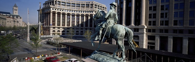 Panorama view of Market Square, with statue is of Union General Winfield Scott Hancock, Washington, D.C.