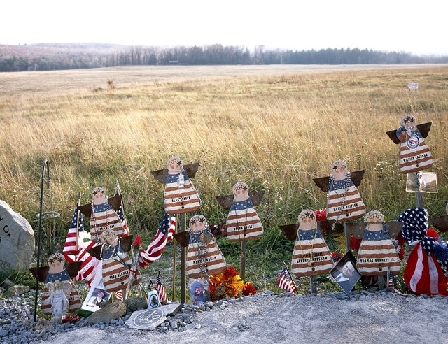 Part of an informal memorial to the victims of United Flight 93, which crashed in a nearby field after passengers fought with hijackers who had taken the plane and directed it to Washington during the terrorist attacks of 9/11/2001