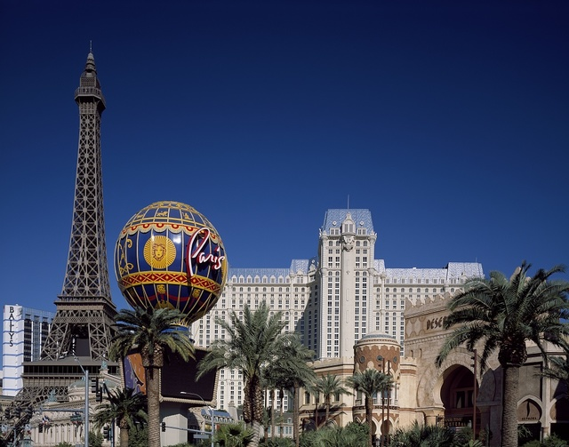 Part of the Las Vegas Strip, including the Paris Eiffel Tower replica. Las Vegas, Nevada