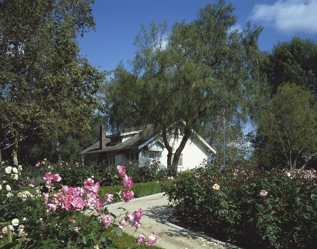 Pat Nixon's beloved rose garden frames the birthplace of her husband, President Richard Nixon in Yorba Linda, California