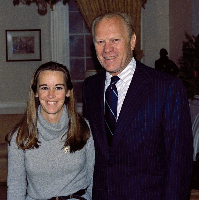 Photographer Carol M. Highsmith poses with former President Gerald Ford during the 1980s. Washington, D.C.