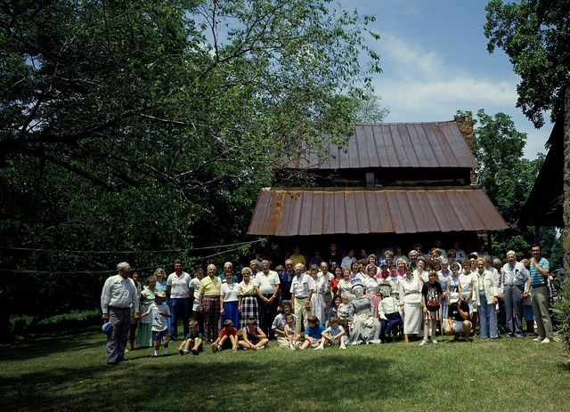 Photographer Carol M. Highsmith's family reunion at the log cabins where her Grandfather and Great Grandfather were born in Wentworth, North Carolina
