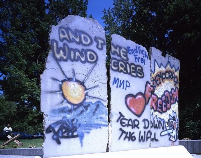 Piece of the Berlin Wall displayed at the Newseum museum, Arlington, Virginia