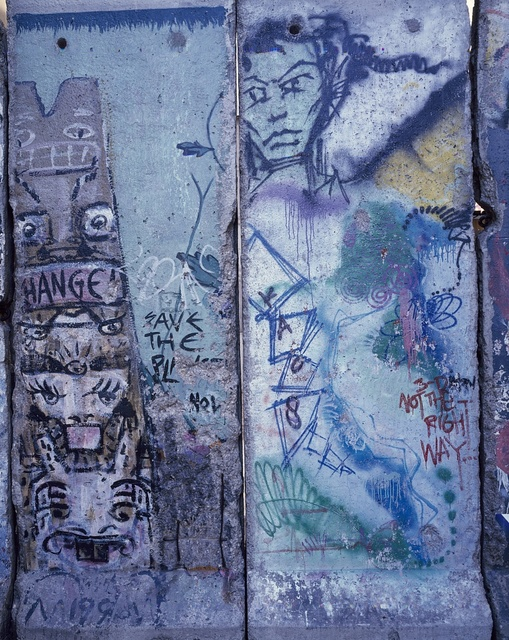 Piece of the Berlin Wall, photographed at the Newseum museum in Arlington, Virginia, before it moved to a new location on Pennsylvania Avenue in Washington, D.C.