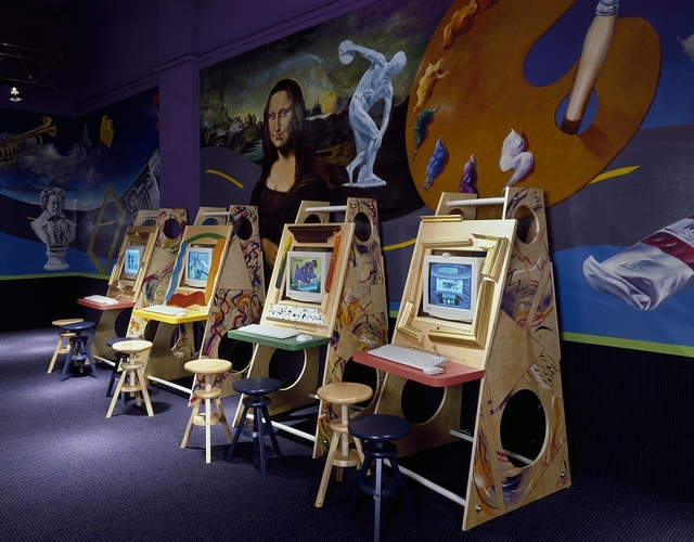 Play stations at a children's computer center in Rockville, Maryland