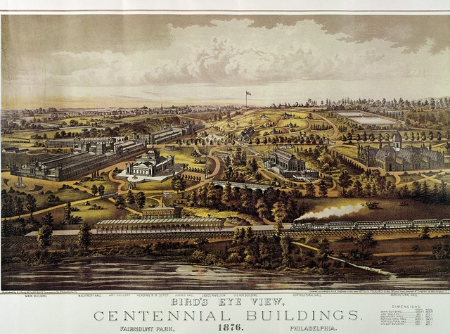 Poster for the U.S. Centennial Exposition in 1876, which brought thousands of visitors to town. Philadelphia, Pennsylvania