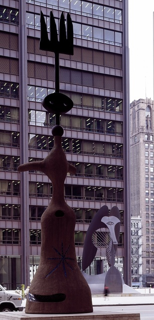 Public art in Chicago, Illinois, including the city's most famous sculpture, an unnamed piece by Pablo Picasso, shown across the street