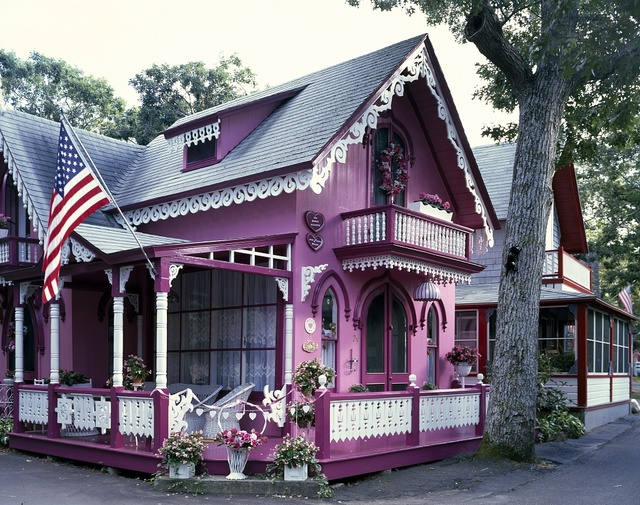 Quaint 'carpenter gothic' houses fill Oak Bluffs, an old Methodist camp meeting town on Martha's Vineyard, Massachusetts
