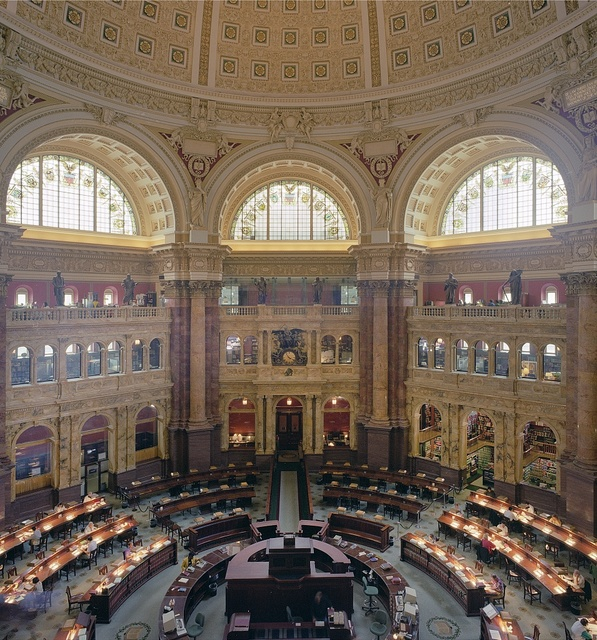 Reading Room at the Library of Congress's historic Thomas Jefferson Building, Washington, D.C.