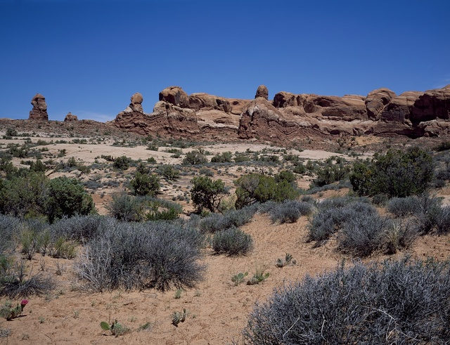 Red sandstone formation in Arches National Park, Moab, Utah