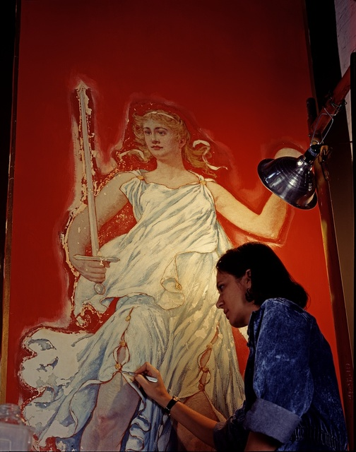 Restoration specialist at work on art at the Library of Congress Thomas Jefferson Building, Washington, D.C.