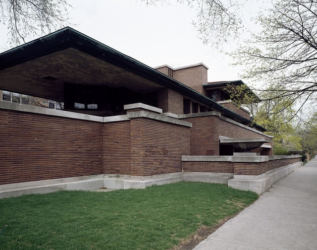 Robie House, created by architect Frank Lloyd Wright in the Hyde Park neighborhood, Chicago, Illinois