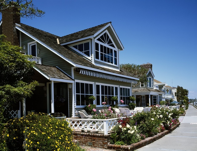 Row of cottages in Venice Beach, California