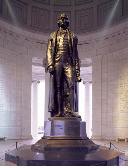 Rudulph Evans's statue of Thomas Jefferson was mounted in the Jefferson Memorial in 1947, four years after the memorial opened, Washington, D.C.