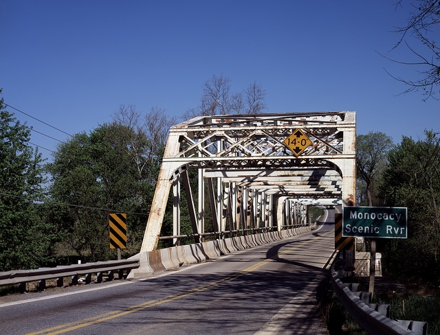 Rusted bridge over the Monocacy River in Maryland