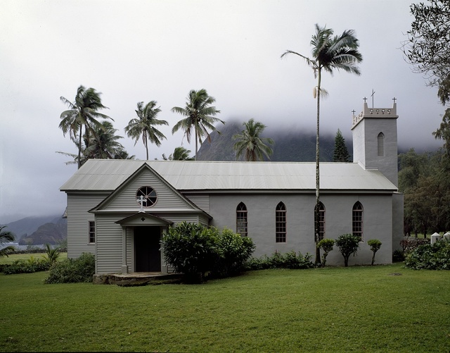Saint Philomena Church on Molokai island, the home church of Father Damien, a missionary who ministered to shunned leprosy patients in the Hawaiian Islands