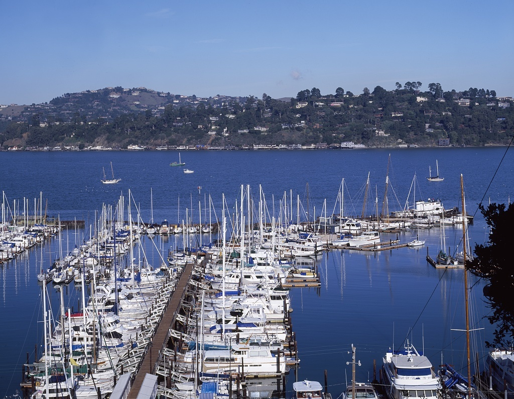 Sausalito Harbor in Marin County, across the Golden Gate straits from San Francisco, California