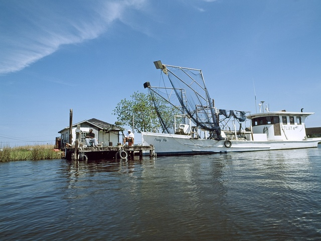 Shrimp boat and shack in Louisiana