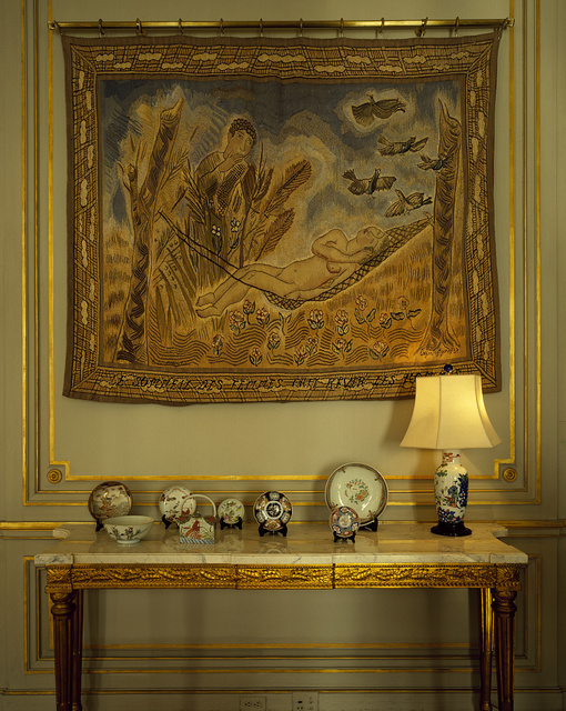 Side table and tapestry in the residence of the Belgian ambassador, Washington, D.C.