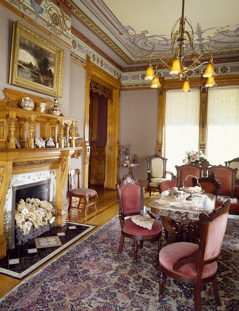 Sitting room at the 1882 Hearthstone Mansion, the world's first home to be lighted by a central hydroelectric station, Appleton, Wisconsin