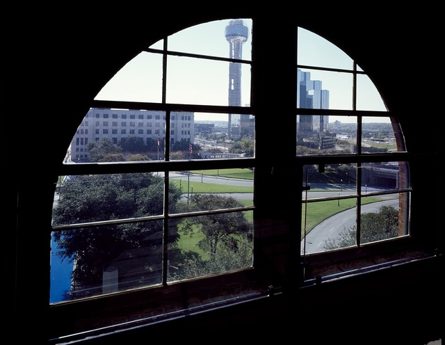 Sixth-floor window of the Texas School Book Depository in Dallas, Texas, from which, according to the Warren Commission, Lee Harvey Oswald killed President John F. Kennedy in 1961