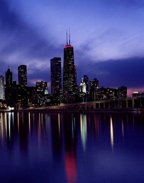 Skyline at dusk, dominated by Willis Tower, long known as Sears Tower, Chicago, Illinois