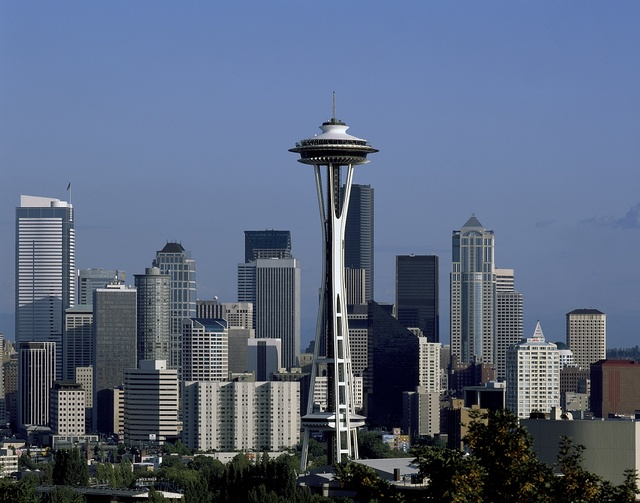 "Skyline, dominated by the Space Needle, which appeared in the 1962 Seattle World's Fair, or ""Century 21 Exposition."" Seattle, Washington"