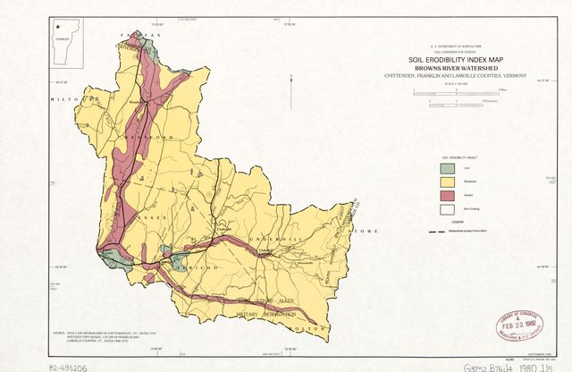Soil erodibility index map, Browns River Watershed, Chittenden, Franklin, and Lamoille Counties, Vermont /