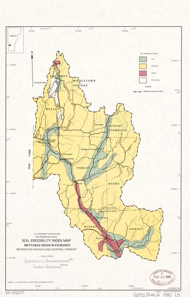 Soil erodibility index map, Mettawee River Watershed ...