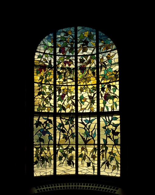 Stained glass at the Hay House, built just prior to the U.S. Civil War in Macon, Georgia