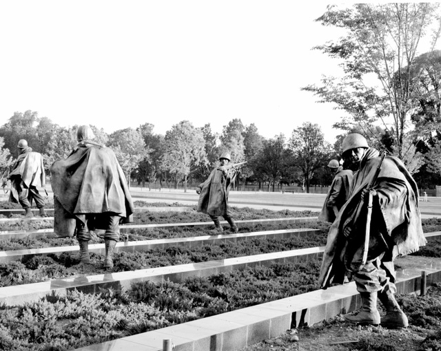 """Stainless-steel troopers """"on patrol"""" on grounds created to resemble Korea's rice paddies at the Korean War Veterans Memorial, Washington, D.C."""