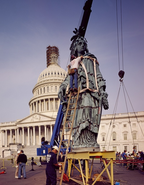 Statue of Freedom, also known as Armed Freedom or simply Freedom, is a bronze statue designed by Thomas Crawford that, since 1863, has crowned the dome of the U.S. Capitol in Washington, D.C.