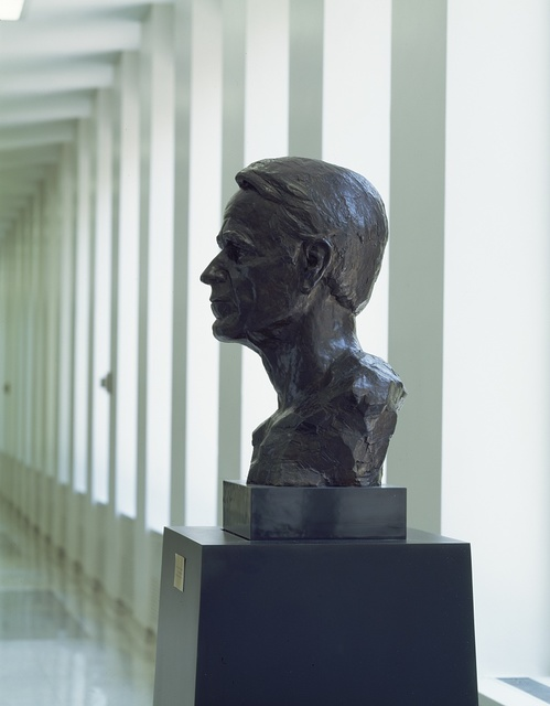 Statue of George H.W. Bush, a former CIA director as well as U.S. president, at CIA headquarters in Virginia