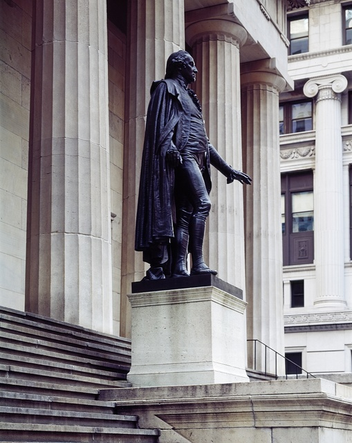 Statue of George Washington located on Wall Street in the Financial District of New York City