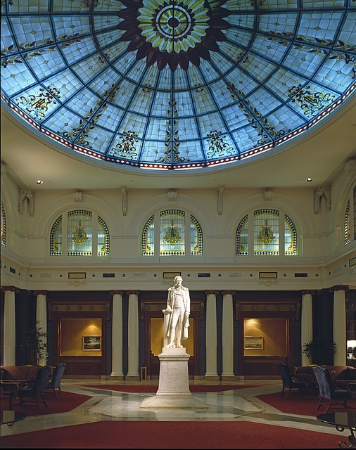 Statue of Thomas Jefferson in the lobby of the historic Jefferson Hotel in Richmond, Virginia