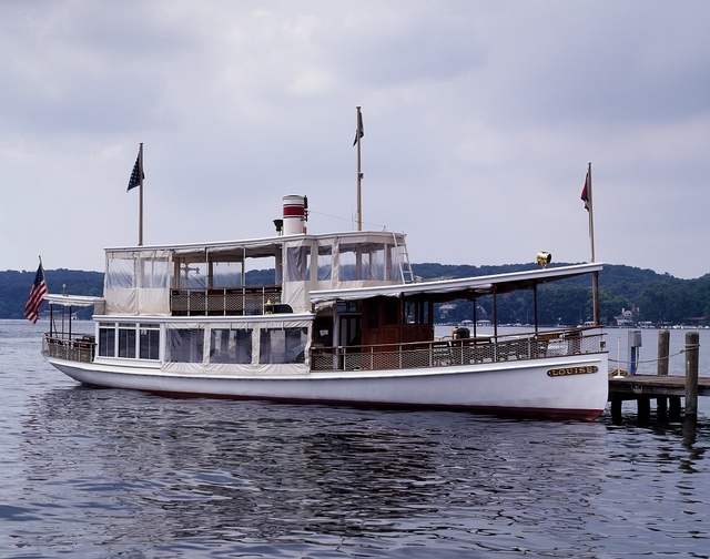 "Steamer ""Louise"" plies Lake Geneva, Wisconsin"