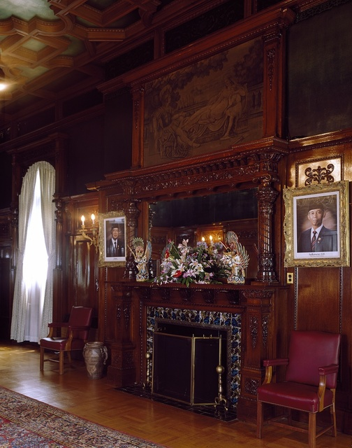 Stinkwood room paneling and fireplace at the residence of the ambassador of South Africa, Washington, D.C.