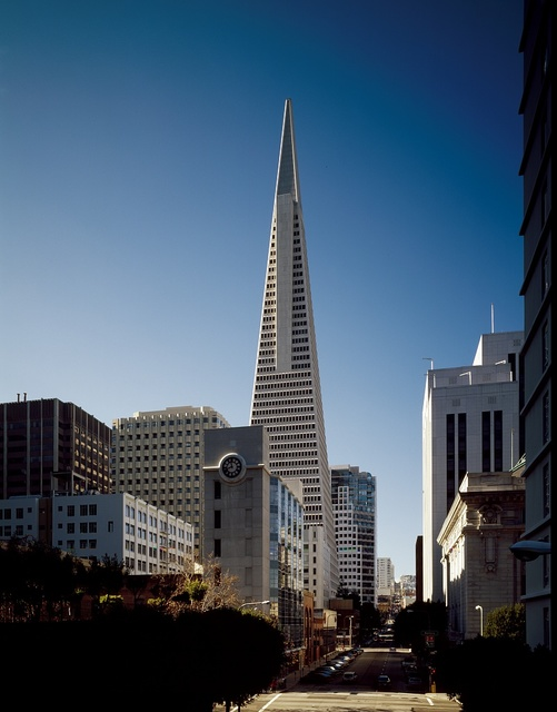Street-level view of San Francisco, California, with a focus on the 1972 Transamerica Pyramid